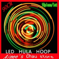 Wholesale 10PCS EMS quot cm LED Glow Hula Hoop LED colors Performance Hoop Sports Toys Loose Weight