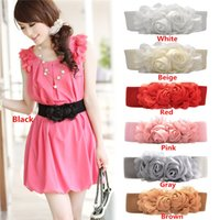 Wholesale New Arrivals Women Lady Waist Band Belts Corset Buckles Elastic PU Leather Wide Double Rose Flower Fashion IX233