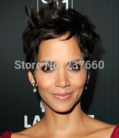 berry wig - Top Quality Halle Berry Graceful Hairstyle Super Natural wig Short Curly Black Dark Brown Wigs synthetic lace front wig