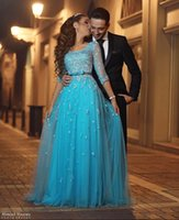 Wholesale Elegant Blue Appliques Long Sleeves Evening Dresses Said Mhamad Scoop Neck Formal Party Gowns Celebrity Pageant Dresses Prom Dresses