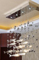 Wholesale Modern Glass Fly Fish Ceiling Light Swarm Fishes Chandelier Living Room Light Crystal Cognac Color Fishes Ceiling Lamps