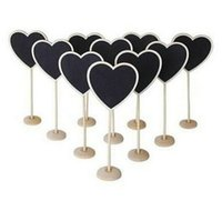Wholesale New Heart Shape Wooden Mini Blackboard Chalkboard with Stand Place Table Number Sign