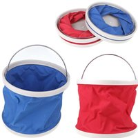 Wholesale Outdoor Folding Fishing Camping Car Washing Hiking Water Bucket Barrel L Red Blue