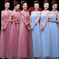 Wholesale 2016 long blue pink tulle bridesmaid dresses for wedding style sisters dresses long skirts prom dresses evening dresses party dresses
