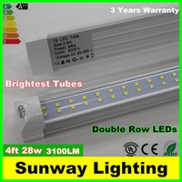 fluorescent bulbs - Double row LED T8 Tube FT W LM SMD integrated LEDS Light Lamp Bulb feet m led lighting fluorescent