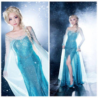 Wholesale Frozen Elsa Princess Halloween Costume Blue Sequins Adult Cosplay Costume Fantasy Crystal Yarn M Train Real Picture Elisa Wigs Available