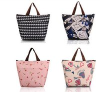flower handbags - Korea Lunch bag Flower Shopping Bag Women Handbag Waterproof Thermal Insulation Bag