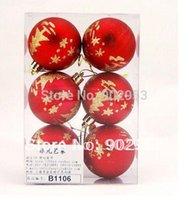 Wholesale 6cm christmas ball ornament coloured drawing or pattern Xmas Ball Christmas Decoration polybag EMS free lota10c