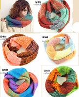 Wholesale for winter thick two layers warm fashion scarves women s contrasted color infinity loop scarves womens circle ring scarf knitted neck warmer
