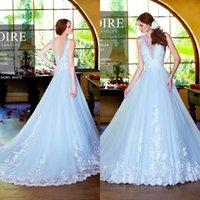 light blue wedding dress - Light Sky Blue Spring Wedding Dresses V Neck Appliques V Back A Line Sweep Train Long Bridal Gowns AL061306
