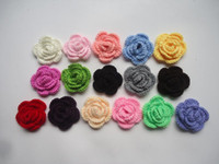 Wholesale DIY hairband rose flower Crochet manual hook flower bow Wool rose flower baby clothing shoes hats accessorie cm