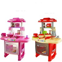 best toy kitchen for kids - 37 cm Best Combination Classic Pretend Play Kitchen For Children Toys Cooking Toys Pink Or Red Kitchen Sets Toys For Kids