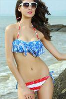 Cheap New fashion women beach swimwear western style sexy chalaza lacing stripe bikini swim wear
