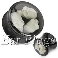 Wholesale black acrylic three skulls saddle ear plug double flare ear expander mix mm mm DSP157