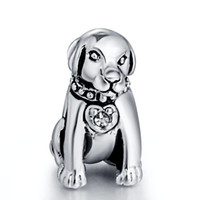 big charms chain - New Big Dog With Crystal Charm Sterling Silver European Beads Compatible With Snake Chain Bracelets Women Jewelry