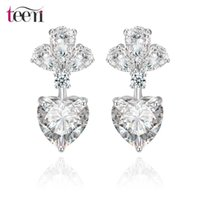 asian jewelry stores - Teemi Jewellery Stores Statement Luxury Wedding Bridal Drop Heart Earrings White Gold Plated Clear Cubic Zircon Discount Jewelry for Women