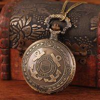 Antique Women's Quartz Wholesale Free Shipping 2015 Hot Sale Bronze Retro Carved Cross Pirates Anchor For Women Pendant Chain Watch Fob Necklaces