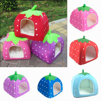 Wholesale Hot Sell Warm Pet Strawberry House Bed Soft Cat Dog Sponge Nest Basket Kennel Three Size Colors Choose ZZD