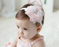 Bandas para la cabeza de encaje blanco para bebés España-Epacket libre, vendas del cordón del bebé Hairbands hairband headwear grandes flores de color rosa Cinta elástica Blanco Rosa Verde