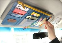 Wholesale Auto Car Sun visor Point Multi Pocket Hang Storage Organizer Arrangement pouch Bag of Sunvisor for Card Phone Key pen