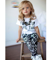 tshirt - Summer I Woke Up Like This Letter Geometry Printing Children Girls Tshirt Pants Sets Kids Tee Shirt Tops Trousrs Outfits Casual D5018