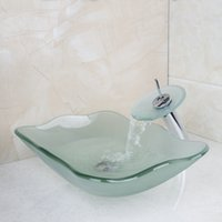 Wholesale 2014 Washbasin Lavatory Tempered Glass Sink Bath Combine Brass Faucets Mixers Taps