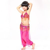 belly dance belt and bra - Stage Performance pieces Set Tassel Beads Top Belt and Pants Sequin Bra A Cup Children Belly Dance Costume for Girls