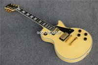 Wholesale China guitar factory OEM handmade musical instrument fret binding gold hardware electric guitar cream color