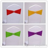 Wholesale price spandex chair band with heart shaped plastic buckle lycra band for wedding decoration chair sash for cover chair