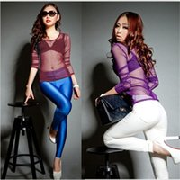 Wholesale See Through Womens Clothing - 9 Colors HOT 2014 Fashion New Womens Clothing Sexy See Through Stretch Slim Mesh Tops T-Shirt Sheer Bottom Tee Free Shipping