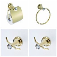 paper plate holders - Gold plating Brass and Crystal Bathroom Accessories Set Towel Ring Paper Holder Robe Hooks B5100