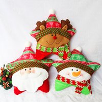 Wholesale Christmas Star Cartoon Series Santa Claus Reindeer Snowman Cotton Plush Pentagram Decorative Throw Pillow Case Cushion Cover Pillowcase