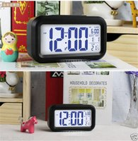Wholesale New Multi function Digital LCD Screen Desktop LED Projector Alarm Clock with Snooze Blue Backlight Calendar