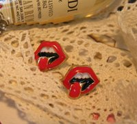 Wholesale 2015 fashion jewelry double sided studs earrings for women piercings crystal European and American trade big tongue earrings Rolling Stones
