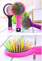 Wholesale 2017 Rainbow Volume Tangle Detangling Hair Brush Multi Color Magic Detangler Hair Styling Tool Hair Brush Comb With Mirror