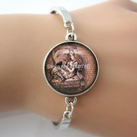 alice in wonderland quotes - Alice in Wonderland Quote movie jewelry Alice and Dinah charm bracelet Glass cabochon Girls Vintage Bracelet for girls GL038