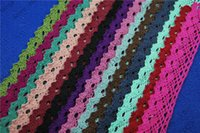 Wholesale DIY yards MM multi color Crochet Cotton Lace Trims for Sewing Embroidered Lace Fabric Ribbon Garment Accessories LC122