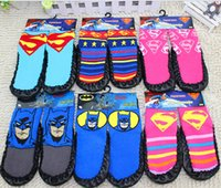 100 % wool socks - 100 cotton AAA quality styles superman batman for kids girls boy warm wool knit handmade socks leg warmers gift topB1498 pairs