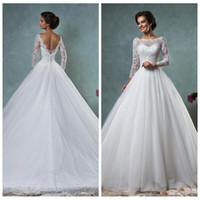 Cheap Long Sleeve A-Line Amelia Sposa Wedding Dresses Chapel Train Bridal Gowns 2016 Amelia Sposa Custom Modern Vestidos De Novia Top Sale