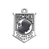 antique history - 100pcs Retail US Pow mia Epaulet history Charm Zinc Alloy Antique Silver Plated Sport Jewelry Charms H100107