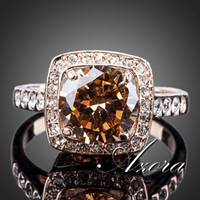 crystal crystal ring - AZORA Royal Design18K Rose Gold Plated with Rhinestones Surrounded Square Orange Crystal Ring TR0095