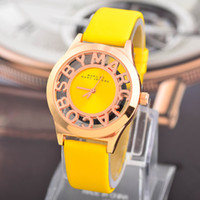 Wholesale Watches Wristwatches Foreign selling MJ fashion jelly watch students watch hollow letters leather belt men s watches