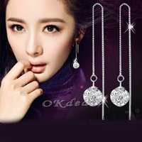 Wholesale Hot Pair of Fashion Jewelry Womens Sterling Silver Tassel Beads Crystal Dangle Earrings