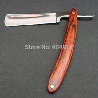 Wholesale RFS Wood Handle Blade Folding Straight Edge Stainless Steel Barber Hair Razor Shaving Knife