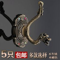 Wholesale European stainless steel shoe coat hooks single hook creative wall hanging on the wall retro single coat hooks Coat Rack