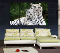 albino animals - Home Decor HD Print Animal art painting on canvas No stretch Tiger Two Albino PC