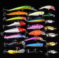 Cheap New Hot 20pcs lot Fishing Lure Mixed Fishing Tackle Color Size Weight  Hook Diving Depth Minnow,VIBRATION,Pencil,Popper Fishing Bait
