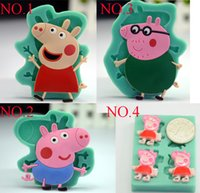 fondant - Cartoon Pig Cake topper wedding chocolate mold cupcake bakeware silicone soap mould fondant cake decorating tools