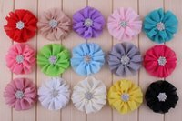 Cheap Chiffon baby hair clip baby hair accessories hair barrettes hair flower with diamond clothing clips shoe clip 15colors 20pcs lot