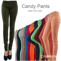 100% cotton denim jeans - CHAMEN Women s Sexy Candy Colors Solid Pencil Pants Slim Fit Skinny Stretch Jeans Trousers P001